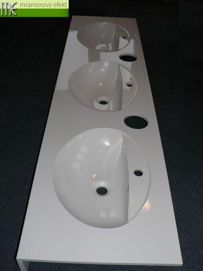 Weisser Waschtisch Flexible60 mit 3 Ovalbecken FJORD55 und Löcher für Papierhandtücher