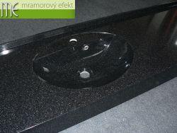Waschtisch im schwarzen Granit - Obsidian
