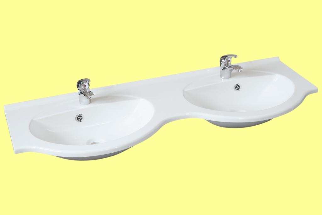 Doppelwaschbecken fjord 130 double waschbecken for Badschrank doppelwaschbecken