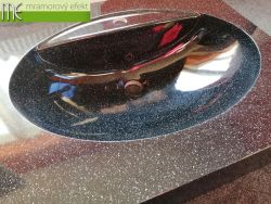 Kleine Waschtische mit Ovalbecken FJORD55 mit schwarzer Granitoberfläche OBSIDIAN
